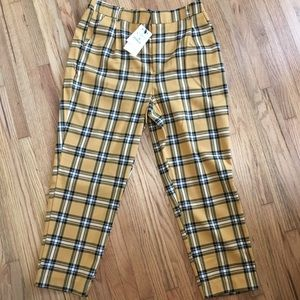 ASOS Stradivarius yellow plaid pants